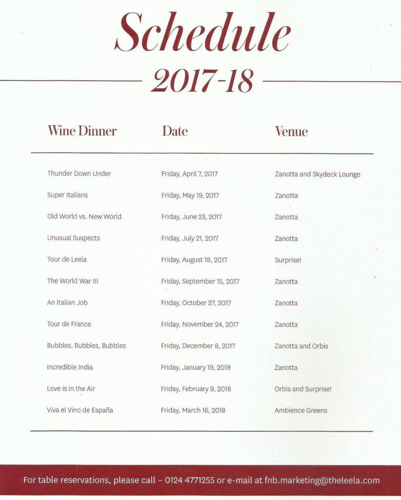 Spectra Dinner Calendar 2017